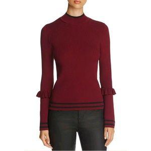 Marled Track Red Wine Striped Ruffle Trim Sweater